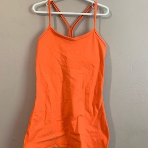 Lululemon neon orange tank top with built in bra